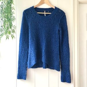 Free People Open Knit Sweater Blue Small